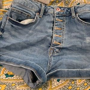 Forever 21 high waisted button fly jean shorts